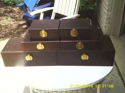 STORAGE BOXES A SET OF 6 ALL WOOD DOVE TAILED