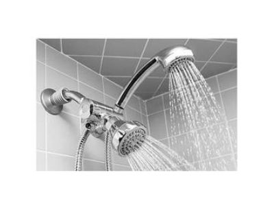 Chrome 5 function dual shower head and massager set
