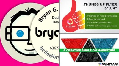 Order unique & quirky Die-Cut Shaped Flyers from PrintPapa
