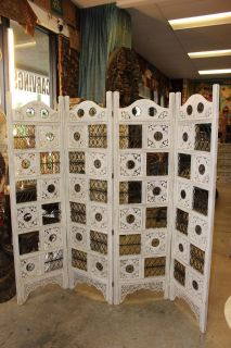 Antique Intricately Carved White Wood Room Divider Screen
