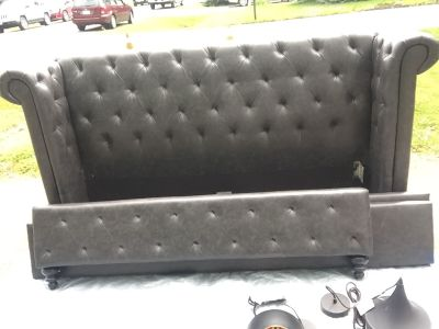 Urban Barn Tufted Leather Queen Bed