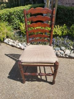 SOLID WOOD LADDER BACK DINING 6 EACH CHAIRS
