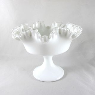 Vintage Fenton Milk Glass Ruffled Compote Candy Dish