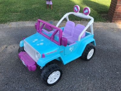 Frozen Jeep Wrangler Power Wheels, great used condition, original owners, radio works, a little over a year old, $150. Porch pick up only.