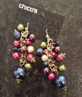 Chicos Earrings - Multi Color Beads - new w/ original packaging