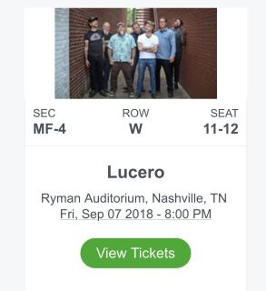 Lucero concert tickets at the Ryman