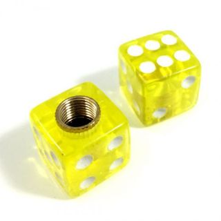 Purchase 2 Premium Clear Yellow Dice Tire/Wheel Air Stem Valve Caps for Motorcycle-Bike motorcycle in York, Pennsylvania, United States