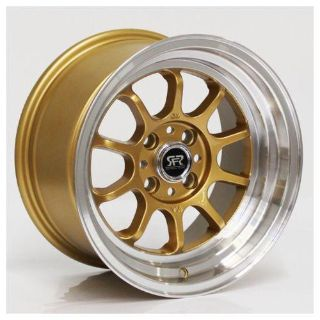 Purchase RFR08 gold wheels Rims15x8 ET15 4x100 VW BMW E30 Honda Civic Scion Mazda Miata motorcycle in Glendale, California, US, for US $325.00