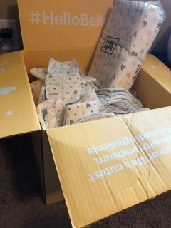 Box of newborn diapers