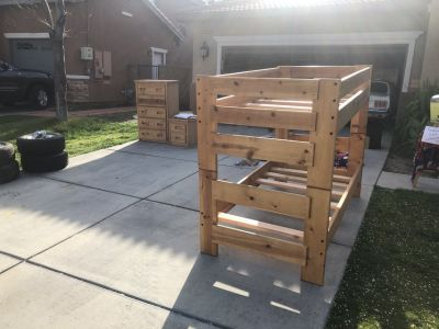 twin bunk bed and dresser set