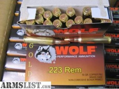For Sale: 1000 round case - 223 Rem 55 Grain FMJ Brass Case Non-magnetic WOLF GOLD AR-15