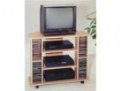 Natural finish wood TV stand with CD holders and casters