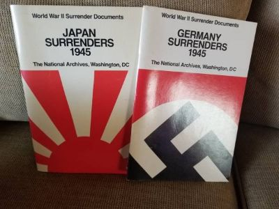 2 World War II books on surrender documents