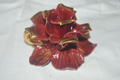 Glass Rose Candle Holder