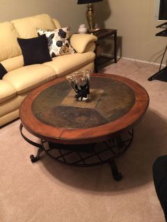 Beautiful Large Round Wood and Slate Top with wrought iron legs and shelf COFFEE TABLE. LIKE NEW