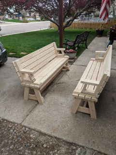 Convertible benches fold over to make picnic table