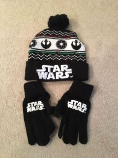 Stars Wars knit hat and gloves - one size