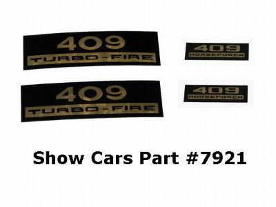 Sell VALVE COVER DECALS KIT 65,64,63,62,61,60,CHEVY CHEVROLET IMPALA BELAIR 409 409HP motorcycle in New Ulm, Minnesota, US, for US $12.95