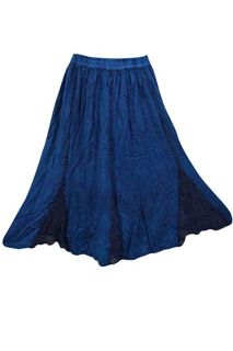 Women's Peasant Maxi Skirt Blue Stonewashed S/M