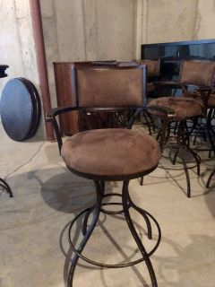 Metal and Suede Barstools