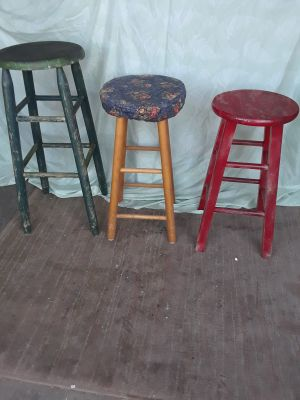 All wood stools- strong and well made- $15.00 - for all 3.