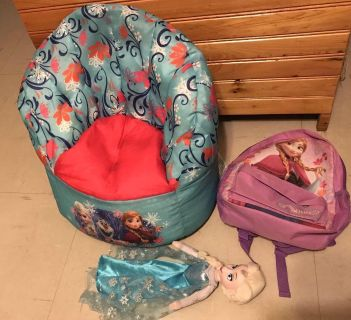 Frozen toddler chair, 16 doll & small back pack $15 all 3