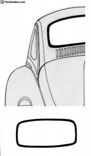 58-63 Vert Rear window Seal w/ groove