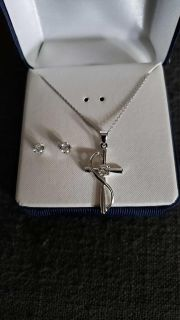 Sterling silver necklace and earrings