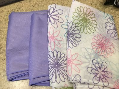 Purple Black Out Curtains and Flower Sheer Panels