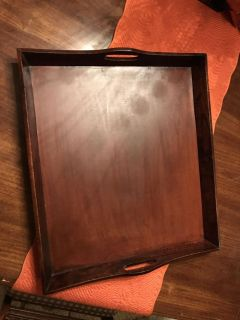 Beautiful solid wood tray, 18 x 21 , Excellent condition. Nice on coffee table or ottoman! Perfect for upcoming holidays!