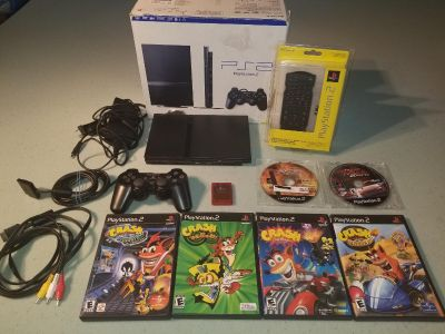 Playstation 2 PS2 Slim console with memory card and 6 games Crash Bandicoot