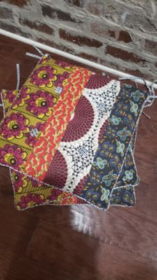 """Set of 4 Indoor Tie Chair Cushions from World Market. Reversible Print. Can use on Either Side or Mix & Match. 16"""" x 16""""."""