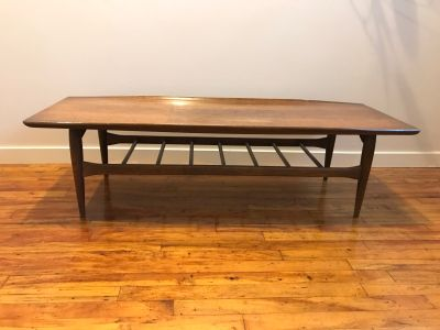 MCM Bassett Artisan Walnut Surfboard Coffee Table