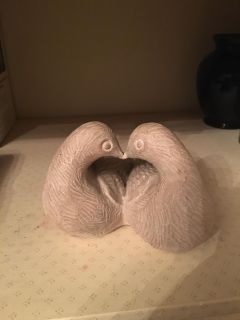 Love birds pottery sculpture. Great for wedding or anniversary.
