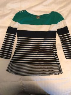 Striped boat neck top, XS