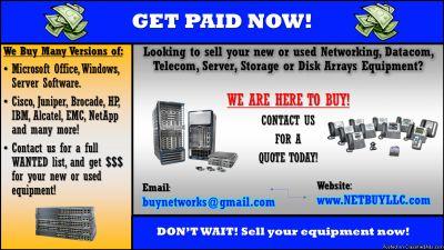 $ (WANTED TO BUY) $ We BUY used/new computer networking, telecom, data com, data storage, software & more. We purchase CISCO, EMC, NETAPP, INTEL, BROCADE, JUNIPER, CIENA, CALIX, SCIENTIFIC ATLANTA, ALLEN BRADLEY, NORTEL, IBM, HP, ALCATEL, AVAYA, POLYCOM,