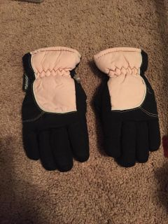 Black and pink thinsulate waterproof gloves - youth 4-7