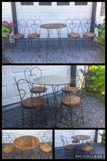 Beautiful Antique Table & Chair Set, wrought Iron & wood, optional glass tabletop shown in bottom pic **READ FULL DESCRIPTION BELOW
