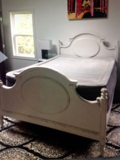 queen bed frame , white distress