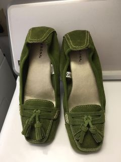 Merona Olive Green Suede Flats Sz 5 1/2 (See Other Photo)