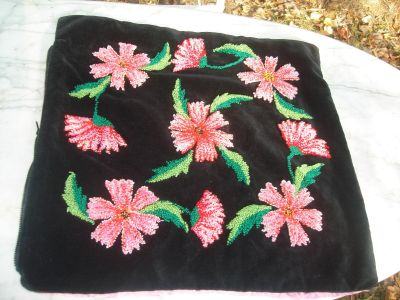 antique needlepoint pillow case