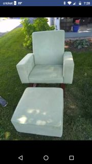 Sage green rocking chair and ottoman