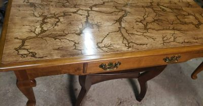 Lichtenberg burned coffee table with gold resin inlay