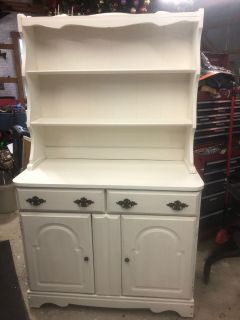 Solid Wood Antique White China Hutch and Buffet
