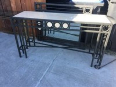 marble top entry table & mirror