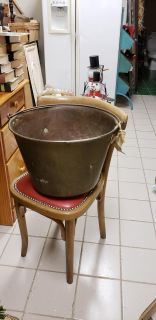 LARGE BRASS CAULDRON 16 IN W LATE 1800S