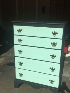 Lovely Hand Painted Robin Egg Blue and Soft Black Chest of Drawers