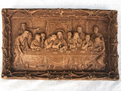 Antique Wall Hanger Plaque , THE LAST SUPPER Cast Wood Resin