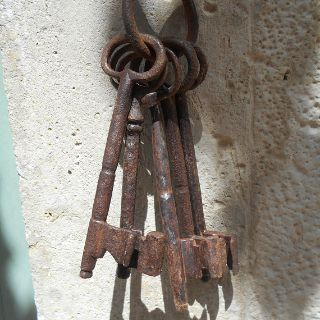 Bunch of Five Enormous Antique French Iron Keys