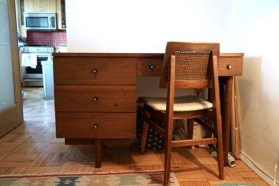 Mid Century Modern Wood Desk w/ Cane Chair